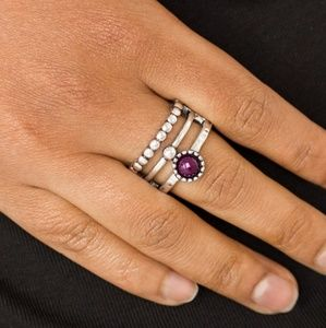 Silver Ring with Stretchy Band & Purple Stone